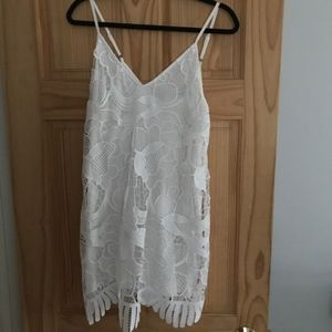 Express Dresses - White Lace Inset Trapeze Dress